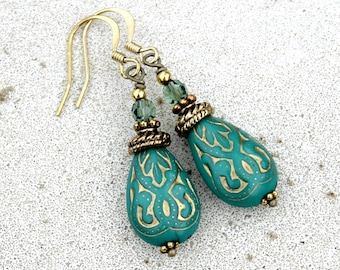 Turquoise Green Drop Earrings, Bohemian, Antique Gold, Lightweight
