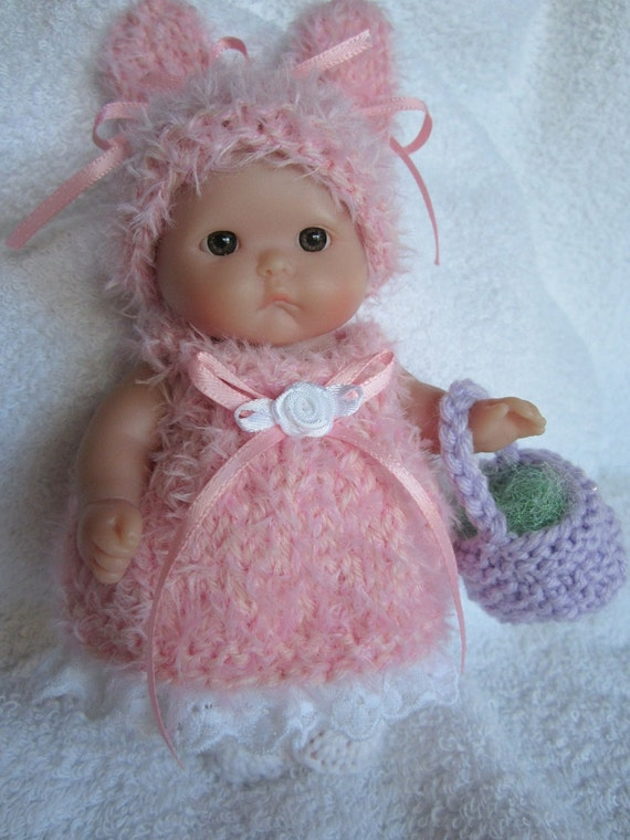 Knitted Easter Bunny Baby Doll Dress Fluffy Pink Set For 5