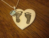Heart Shaped Baby Footprint Pendant With Swarovski Birthstone - Custom and Personalized