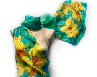 Daffodils silk scarf/ Hand painted scarf. Aqua yellow shawl painted by hand. Spring scarves/ Floral scarf handpainted