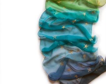 Sunrise Milky Way silk scarf. Hand Painted Scarf. Silk Chiffon Scarf. Ombre Scarf. Blue green scarf. Golden stars scarf shawl Silk Painting