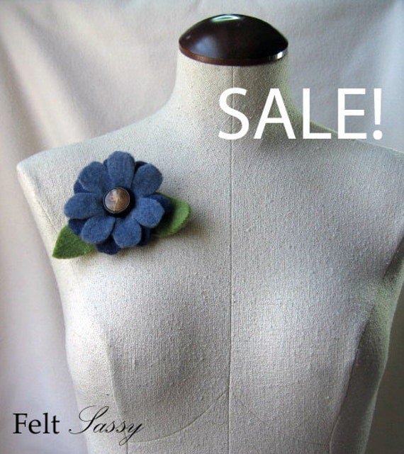 SALE - Brooch -  Recycled Wool Sweater - Two Tone Blue Flower - by FeltSassy