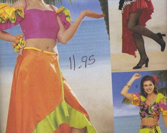 Butterick 6756 UNCUT Misses Tango-Salsa Latin Dance Dress and Fruit Headpiece Sewing Pattern Size 6-24