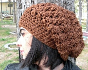 Womens Crochet Hat  Slouchy  Hat Crochet Beanie Hat  - Womens hat - chunky knit  hazelnut  Beanie  Fall Winter Accessories  Autumn Fashion