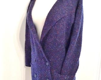 Chinky Nubby Flecked Blue Cardigan Oversized Blazer Sweater Large Wool with Pockets on Sale Lit Professor Grunge SLacker Loose Layer Jacket