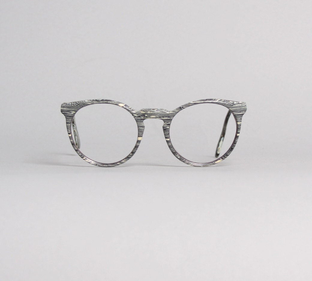 80s Alain Mikli GLASSES Frames / Unique Black & White Swirl
