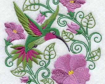 Hummingbird Paradise - Embroidered Terry Kitchen Towel Bathroom Hand Towel