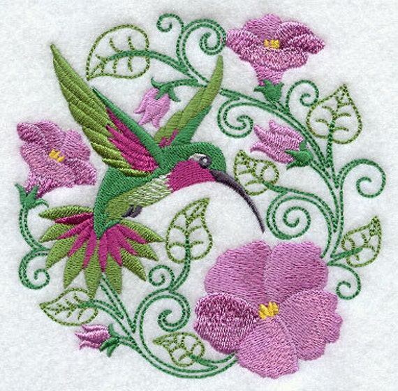 Hummingbird paradise embroidered terry kitchen towel bathroom for Bathroom embroidery designs