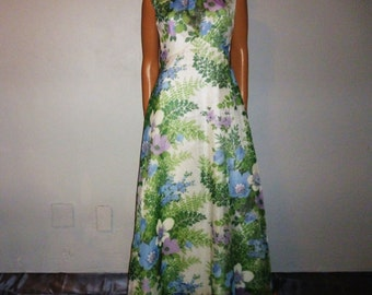 "How does your GARDEN Grow - Vintage 60's/ 70's - Sheer, Blue, Purple and Green GARDEN Floral Empire Waist  Flowing Maxi Gown Dress  36"" bust"