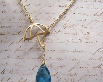 Umbrella and Raindrop Necklace... Rainy days... April Showers