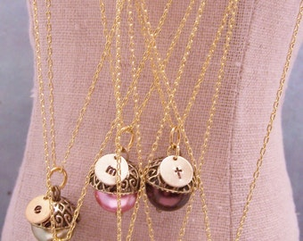 Four Personalized Pearl Acorn Necklaces in Your Choice of Colors. Bridesmaid. Friendship. Love. Peter Pan. Wendy. Kiss. Set