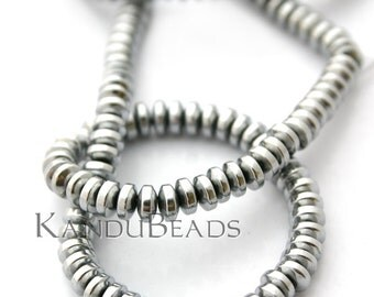 SALE 30% Off - Rhodium Plated Hematite Roundel, Silver Color Wheel Shaped Beads 6x3mm 15 inch
