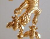 Vintage Earrings Lizard Flies Bugs Dangle Pierced
