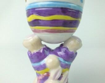 Vintage Bear Hoppy VanderBear Walking in Eggshells Egg Cup for Easter Children