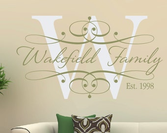 Elegant Family Monogram Vinyl Wall Decal - Custom Personalized Family Decal