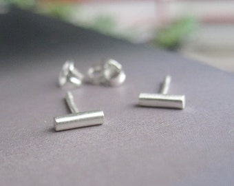 Tiny 5mm Round Sterling Silver Bar Stud earrings with sterling silver post and ear nut - Simple Geometric Posts 0007
