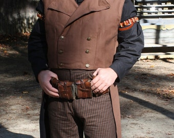 Custom Brown Airship Pirate Coat, Victorian Shirt, and Brown Stripe Pants