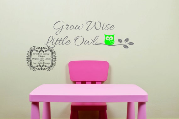 Large Grow Wise Little Owl Wall Decal