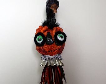 Folk Art Pumpkin Halloween Gourd Holiday Ornament