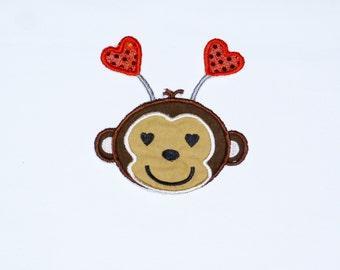 "Embroidered Iron On Applique  ""Valentine Monkey"" RTS"