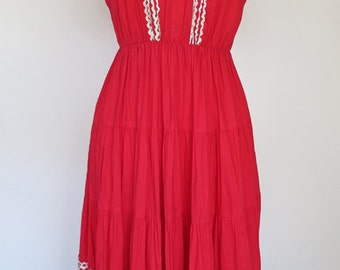 RODEO // red ric rac western style 1950s dress