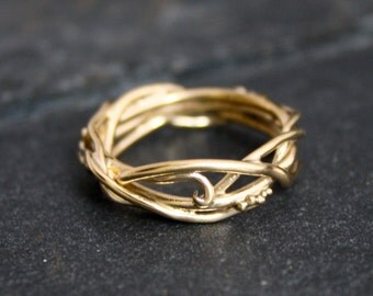 14Kt Yellow Gold Elvin Flow Organic Whimsical Engagement Ring Wedding Band, organic band, twig rings, vine ring, goddess ring, branch ring