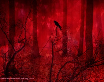 Red Nature Photography, Fantasy Gothic Raven Print, Red Woodlands, Surreal Ravens Crow Red Forest, Red Fairy Tale Ravens Woodlands Art Print