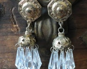 Artsy Gold tone and Clear beaded Dangle Earrings