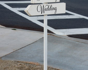 Custom Wedding Directional Arrow Sign (S-017c) - Ceremony, Reception or Special Event - photo prop - INCLUDES stake