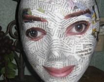 SALE Decoupaged Styrofoam Mannequin Head