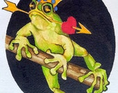 5 x 7 FROG PRINCE VALENTINE Greeting Card by Lynne French Buy 3 Get 1 Free