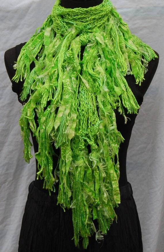 Bright Lime Green Silk Handmade Crochet Scarf