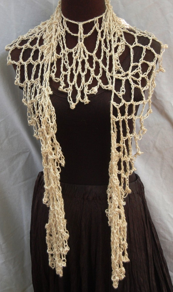 Off White Beaded Silk Handmade Lacy Crochet Scarf