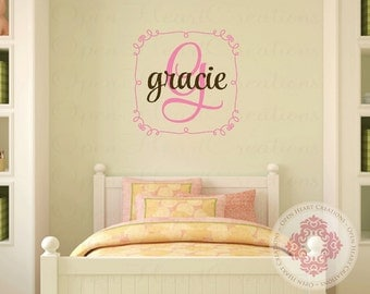 Square Nursery Monogra Initial and Name Wall Decal - Small to Large Size Monogram Vinyl Wall Decal for Girl or Boy FN0516