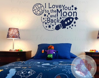 Space Wall Decal with I Love You to the Moon and Back Saying - Playroom Boy Nursery Wall Quote - Planets Stars and Rocket 22h x 36w BA0381