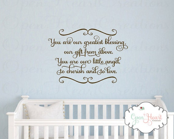 Baby Boy Gift Quotes : Baby nursery wall decal you are our greatest blessing a gift