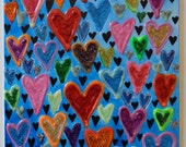 Art Painting Abstract Hearts Original Textured Acrylic 10x8 Canvas Panel Beautiful Colors and Texture