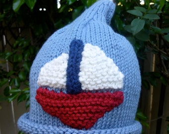 So Special Hand Knit Baby Boy Hat - Blue With Sail Boat - Baby Shower Gift - Baby Boy Gift - Baby Photo - Infant Gift - New Born Present