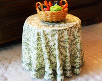 1/12 Scale (Dollhouse) Olive Branches Green Print Cloth Covered Table with Satin Ribbon Trim - Indoor Fairy Garden