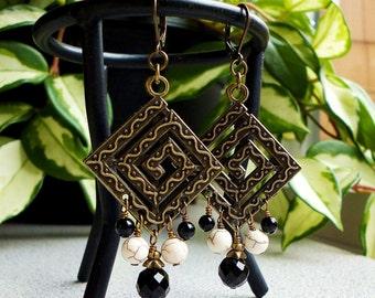 Black Onyx White Magnesite Chandelier Earrings, Antiqued Brass Leverback Earrings, Maze, Geometric, Contemporary
