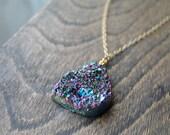 SALE Titanium Quarz Rainbow Druzy Geode Necklace