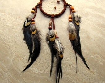 Dream Catcher - Rusty Brown Feather Dreamcatcher, Native American Dream Catcher - Dark Dreams