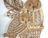 Vintage Kitsch Gold Mom and Baby Owl Wall Decor