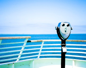 Photograph of a Vintage Blue and Green Ferry Boat Tourist Binocular View Finder Nostalgia Summer Travel Fine Art Print Home Decor