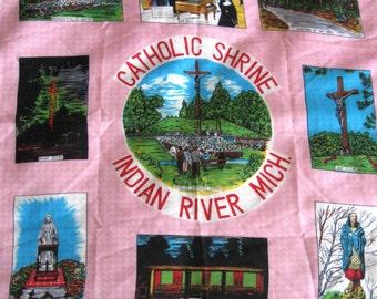 Vintage Scarf Souvenir Catholic Shrine Religious Indian River Michigan Pink Aqua Green