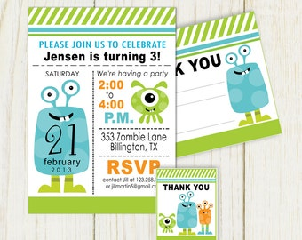 Monster Birthday Invitation and party items - digital files
