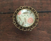 Dots and Flowers Drawer Knobs - Cabinet Knobs in Brass Recollection (MK127 05)