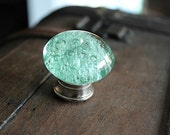 Glass Drawer Knob with bubbles in Mint Green and Silver toned Hardware (CK17)