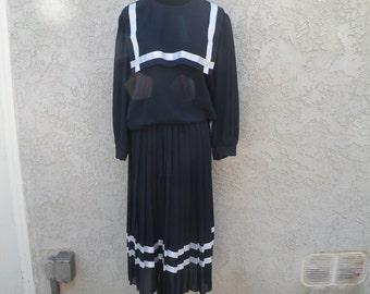 1970s-80s Vintage Navy Blue Sairlor Dress (X-Large)