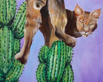 cactus cat green spikes purple orange PRINT